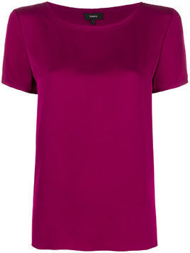 Theory short-sleeve shift blouse - Pink & Purple