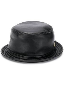 Borsalino stitch-detail logo bucket hat - Black