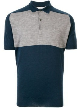 John Smedley two-tone polo shirt - Blue