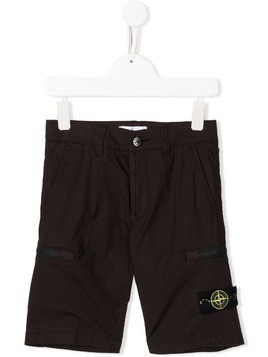 Stone Island Junior logo patch shorts - Brown