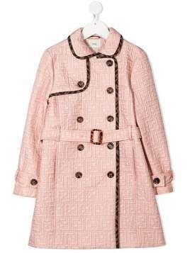 Fendi Kids FF quilted trench coat - PINK
