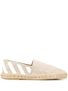 Off-White diagonal logo espadrilles - Brown