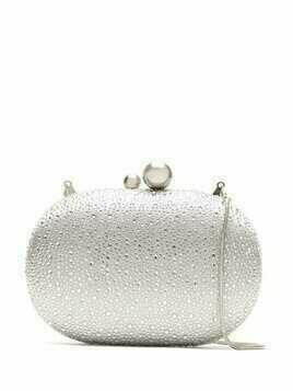 Isla crystal-embellished clutch - SILVER