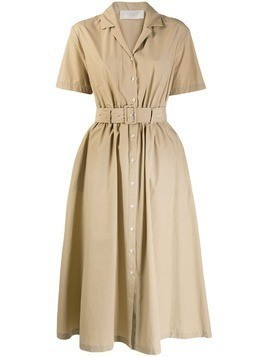 Glanshirt belted shirt dress - Neutrals