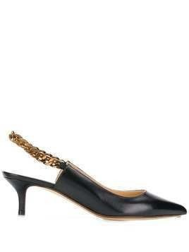 Francesco Russo slingback chain pumps - Black