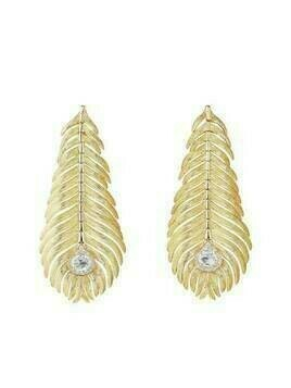 Boucheron 18kt yellow gold diamond Plume de Paon drop earrings