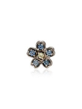 Loquet 18kt white gold Forget Me Not diamond flower charm - Silver