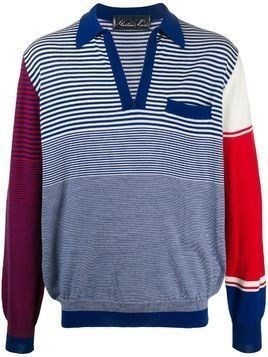 Martine Rose contrast striped-print jumper - Blue