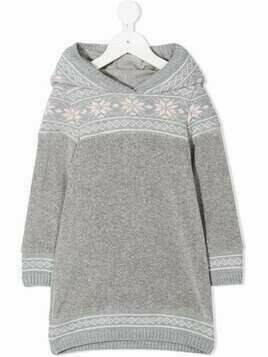 Lapin House intarsia-knit hooded dresses - Grey