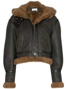 Chloé shearling hooded aviator jacket - Green