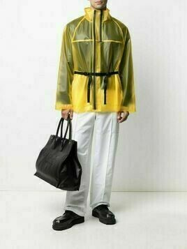 Helmut Lang sheer zip-up coat - Yellow