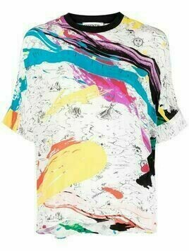 Essentiel Antwerp painterly-print short-sleeved T-shirt - White