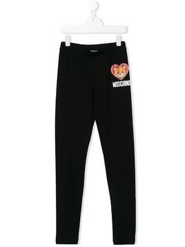 Moschino Kids TEEN teddy bear print leggings - Black