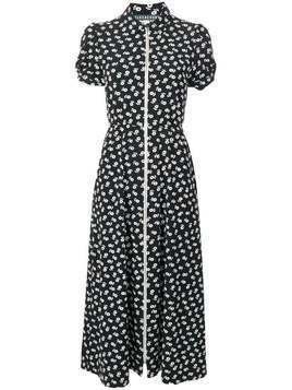 Alexa Chung puff sleeve zip dress - Black