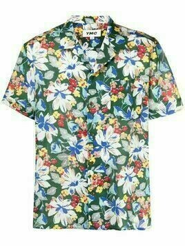 YMC cotton-silk blend floral-print shirt - Green