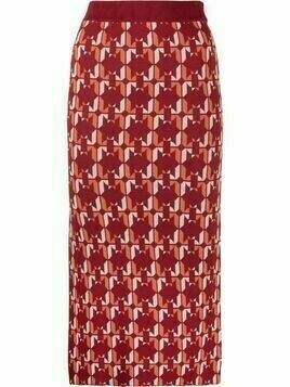 Dodo Bar Or geometric-pattern pencil skirt - Red