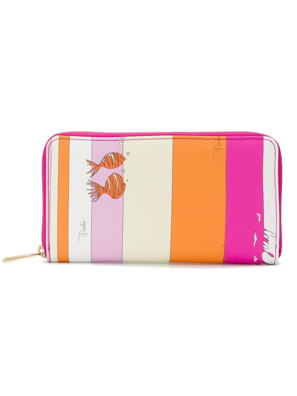 38dcd21cd2f87 Emilio Pucci stripes and fish zip around continental wallet - Pink