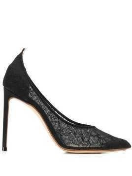 Francesco Russo lace stiletto pumps - Black