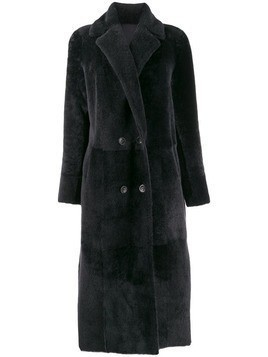Arma shearling double breasted midi coat - Blue