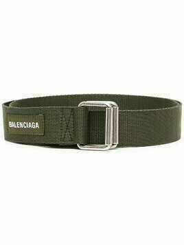 Balenciaga logo-patch army belt - Green