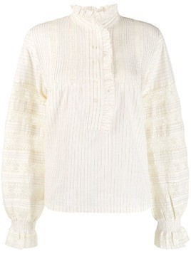 Antik Batik ruffled striped shirt - Neutrals