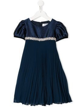 Lesy pleated short-sleeve dress - Blue