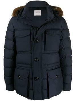 Moncler Augert padded fur-trimmed hood coat - Blue
