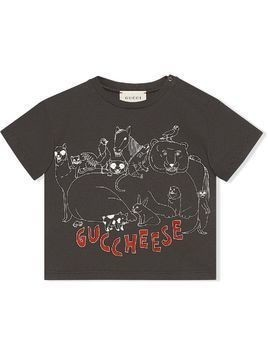 Gucci Kids Baby Guccheese animal print T-shirt - Grey