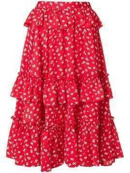 Alexa Chung ruffled floral midi skirt - Red