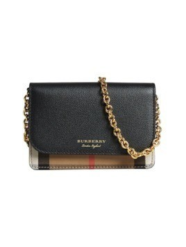 Burberry Leather and House Check Wallet with Detachable Strap - Black