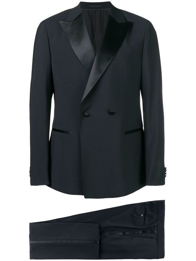 Z Zegna satin trim two piece dinner suit - Black