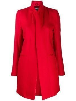 Ann Demeulemeester fitted ribbed knit coat - Red