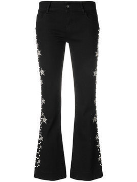Wandering faux pearl and gemstone embellished cropped trousers - Black