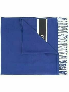 Karl Lagerfeld logo band knitted scarf - Blue