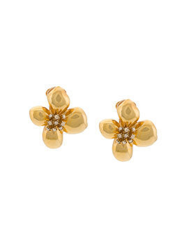 Oscar de la Renta grapefruit flower button earrings - Metallic