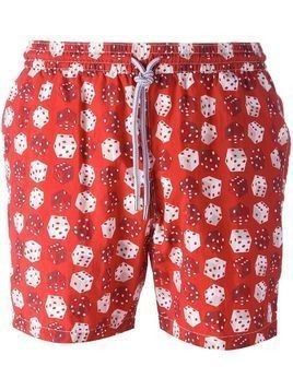 Capricode dice print swim shorts - Red