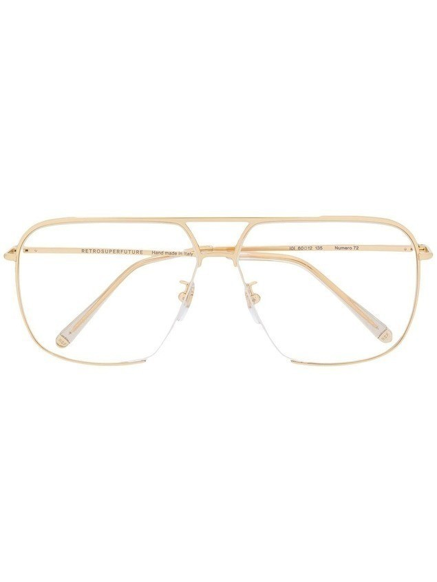 Retrosuperfuture aviator frame glasses - GOLD