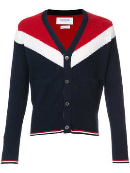 Thom Browne V-Neck Cardigan With Saddle Sleeves And Chevron In Ribbed Cashmere - Blue