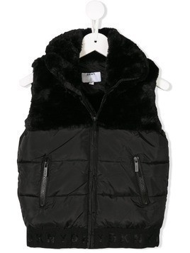 Dkny Kids faux fur detail padded vest - Black