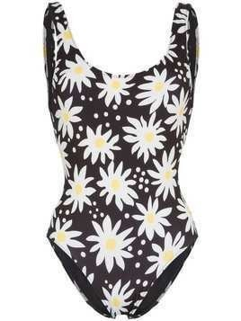 Solid & Striped Anne daisy print swimsuit - Black