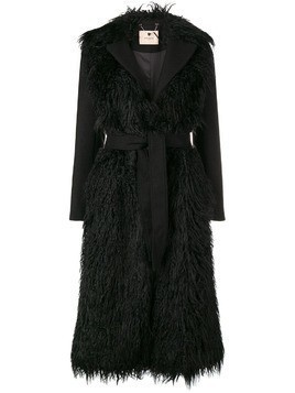 Twin-Set long belted coat - Black