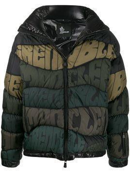 Moncler Grenoble logo stripe puffer jacket - Black