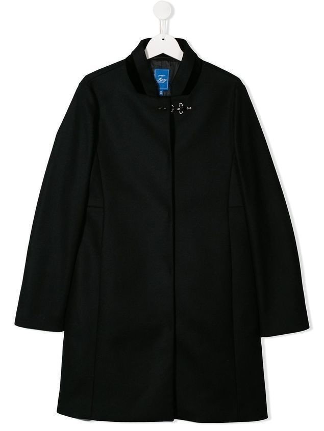 Fay Kids TEEN clasp fastened coat - Black