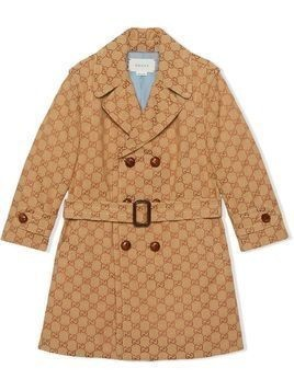 Gucci Kids monogram print double breasted coat - Neutrals