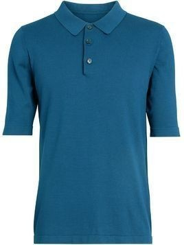 Burberry Knitted Silk Polo Shirt - Blue