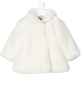 La Stupenderia furry collar baby coat - White