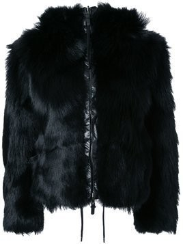 Kru fur reversible hooded jacket - Black
