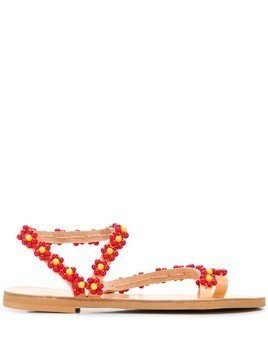 Elina Linardaki flower beaded sandals - Red