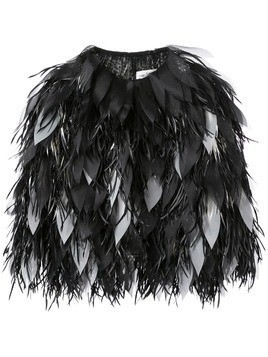 Isabel Sanchis dipped feather organza petal jacket - Black
