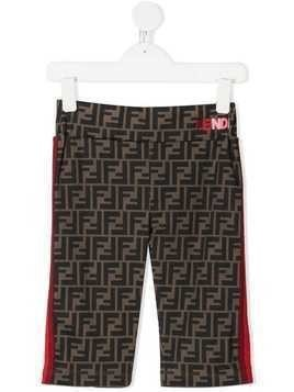 Fendi Kids Zucca print stripe shorts - Brown